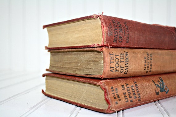 Vintage Stack of Books / Vintage Red Books