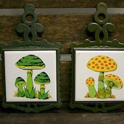 Vintage Mushroom Cast Iron Trivet Set of 2